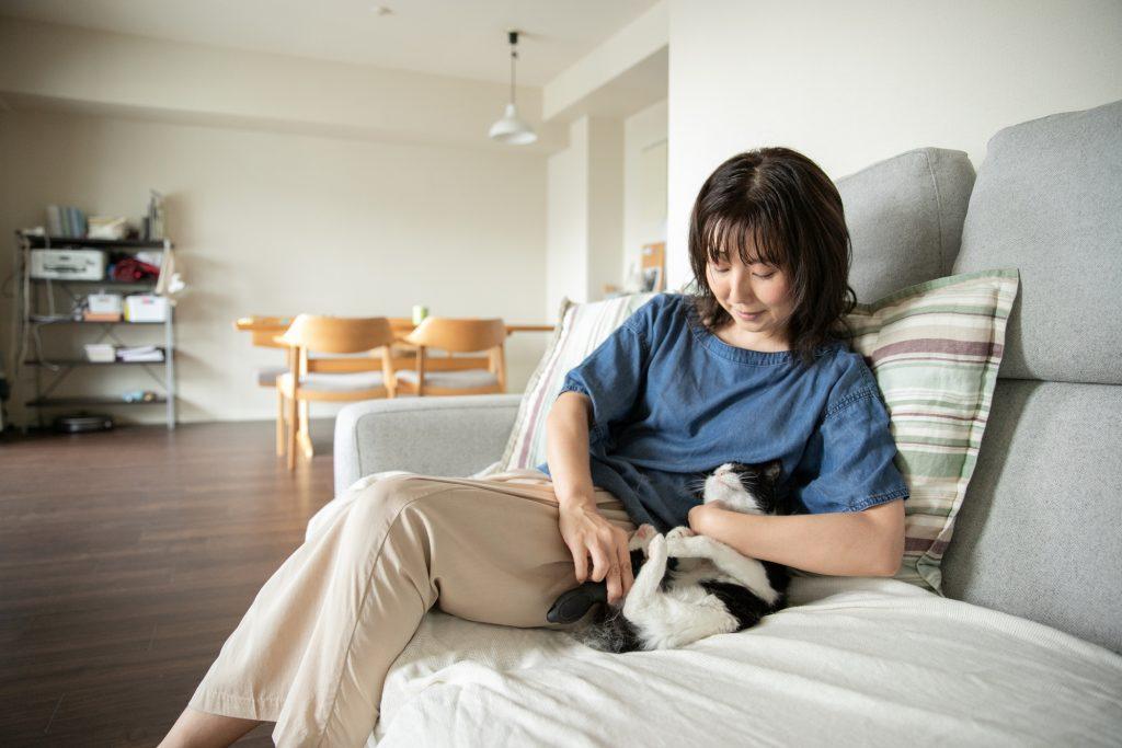 ソファーでくつろぐ飼い主と猫